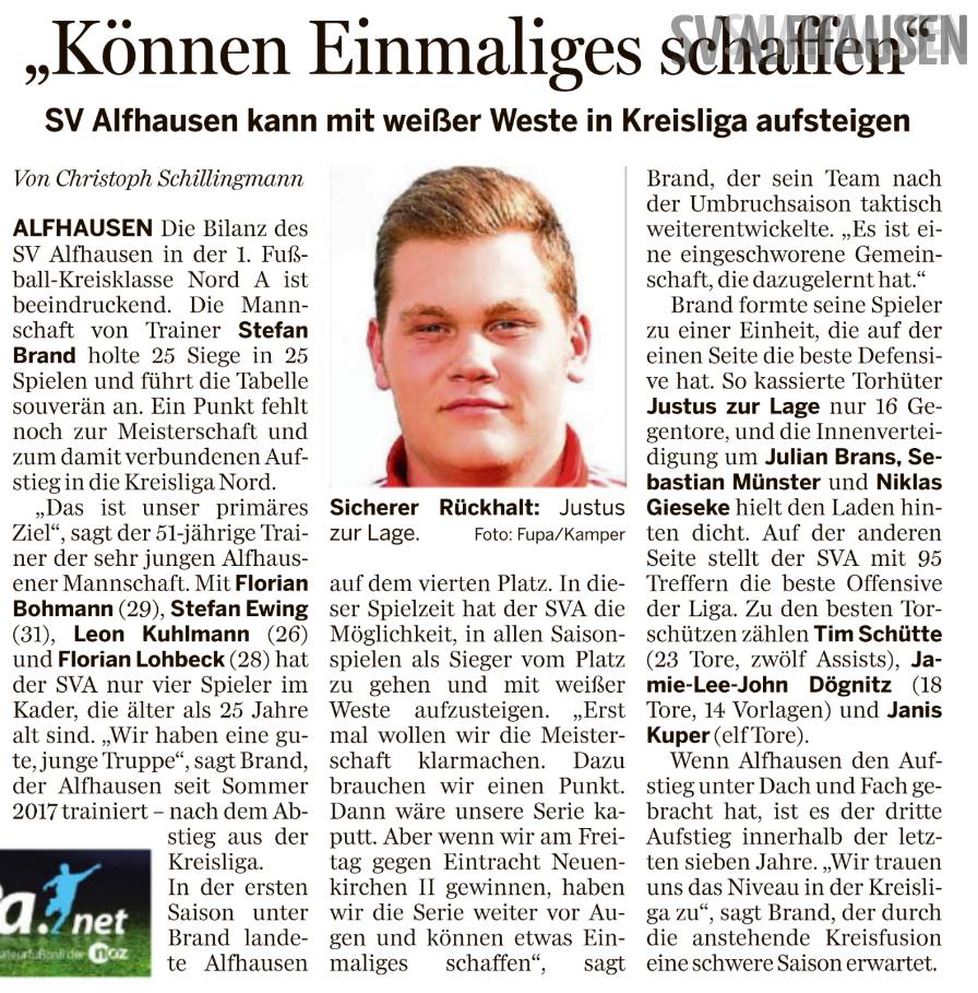 NOZ 08.05.2019 SV Alfhausen