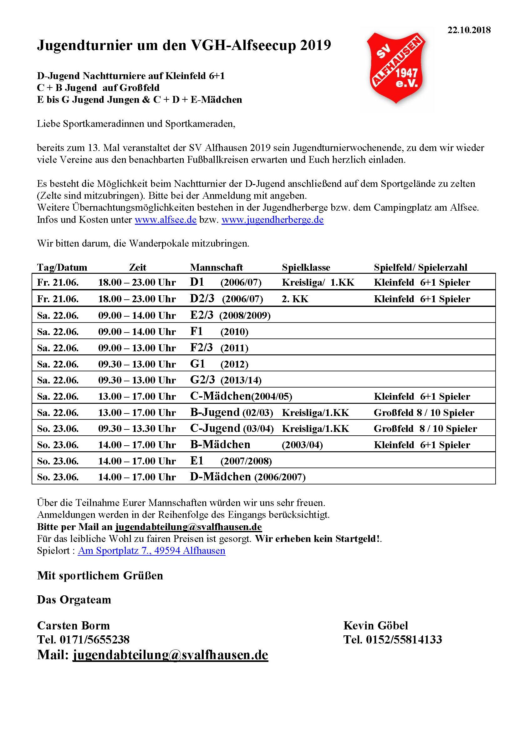 VGH-Alfsee-Cup  -  ASV Jugendturnierwochenende 2019 @ Sportgelände Alfhausen
